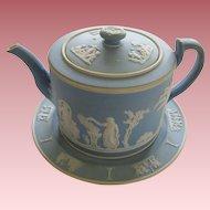19th Century Wedgwood Jasperware Teapot With Underplate