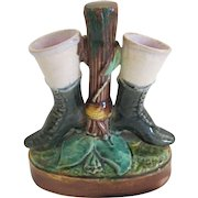 Cute Little English Majolica Spill Vase With Boot Design