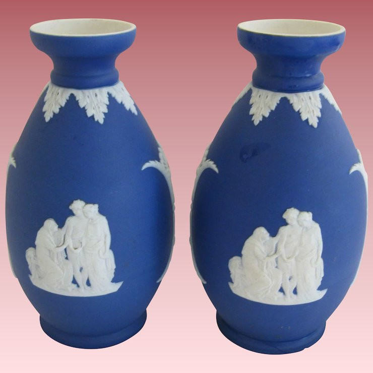Pair Of Cobalt Blue Wedgwood Vases Antiques Limited Ruby Lane