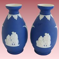 Pair Of Cobalt Blue Wedgwood Vases