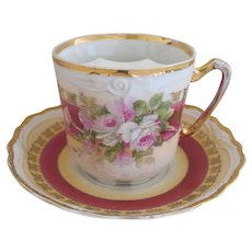 Lovely Antique Porcelain Mustache Cup And Saucer With Roses Motif
