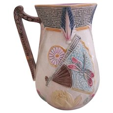Eureka Pottery Dragonfly And Fan Majolica Pitcher
