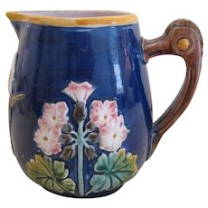 Majolica Floral And Bow Pitcher