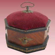 Victorian Wood Jewel Box With Pin Cushion