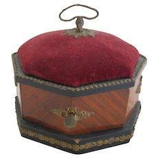 Victorian Wood Jewel Box With Pin Cushion