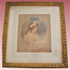 Watercolor Portrait Of Young Lady Dated 1791