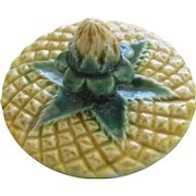 English Majolica Pineapple Teapot Lid Jones Minton?