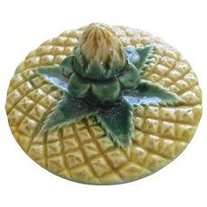 English Majolica Pineapple Teapot Lid Jones Minton?