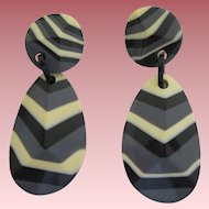 French Designed Galalith Black, Gray And Cream Clip Earrings