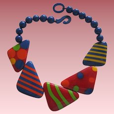 French Designed Deco Style Resin Necklace In Bright Colors