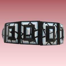 White And Black Geometric Stretch Bracelet By French Designer Lea Stein