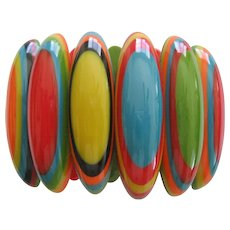 Resin Stretch Surfboard Style Bracelet By French Designer With Great Colors