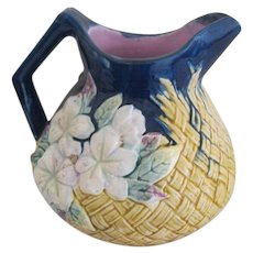 Large English Majolica Floral and Basket Weave Pitcher