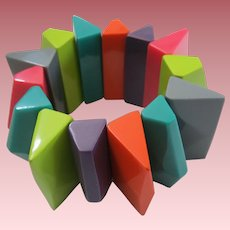 Fabulous French Designed Resin Stretch Bracelet Bright Multi Colors