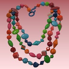 French Designed Triple Strand Beaded Resin Necklace