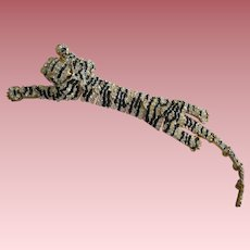 Vintage Costume leopard Pin With Crystals Flexible Worn Over The Shoulder