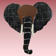 French Designed Resin Lucite Sparkling Elephant Pin By JMP
