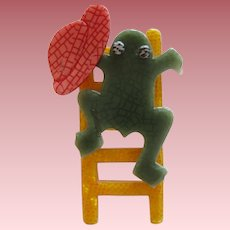 Frog On A Ladder Pin By French Designer Lea Stein