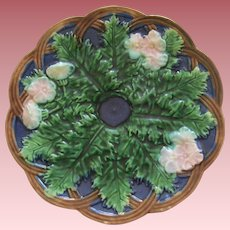 Vintage Majolica Floral and Leaf Plate