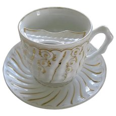 Vintage Porcelain Mustache Cup And Saucer