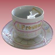 "Vintage porcelain Mustache Cup And Saucer "" A Present"""