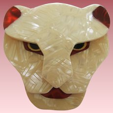 Puma The Jaguar Head Pin By French Designer Lea Stein