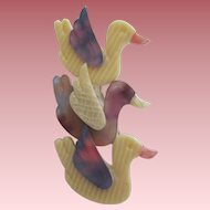 Triple Geese Or Duck Pin By French Designer Lea Stein