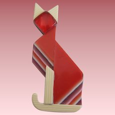 Egyptian Deco Style Cat Pin By French Designer Lea Stein