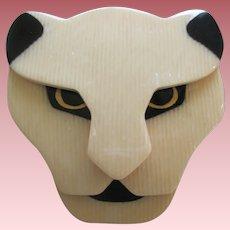 Puma The Jaguar Head Pin By French Designer Lea Stein