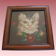 Victorian  Plushwork Needlework Cat Picture In Frame