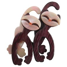 Double Felix Cat Pin By French Designer Lea Stein
