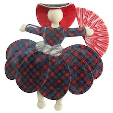 Ballerina Or Scarlet Pin By French Designer Lea Stein Holding A Fan