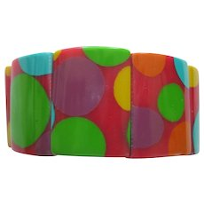 French Designed Resin Stretch Bracelet With Circles Motif