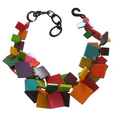 French Designed Resin Disk Necklace In Bright Colors