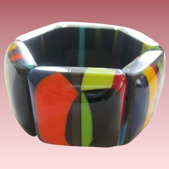 French Designed Colorful Resin Stretch Bracelet