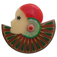 Collerette Deco Lady Head Pin By French Designer Lea Stein