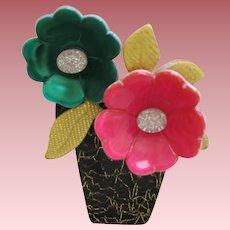 Flower Pot Pin By French Designer Lea Stein
