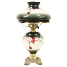 Hand Painted 1890's Antique Kerosene Lamp, Painted Shade, Brass Mounts