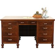 Walnut 1930's Vintage Executive Walnut Desk, Original Bronze Pulls