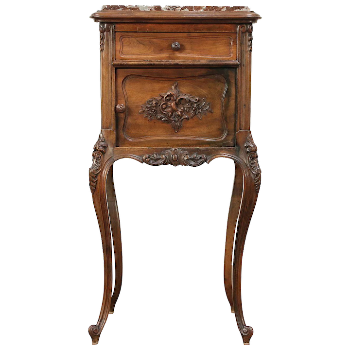 French Carved Walnut 1900 Antique Nightstand Marble Top Signed Harp Gallery Furniture Ruby Lane