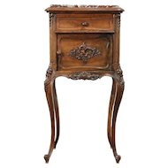 French Carved Walnut 1900 Antique Nightstand, Marble Top, Signed Bastal #24386