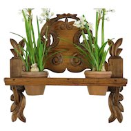 Folk Carved Antique Hand Carved Pine Dutch Wall Shelf Plant Stand