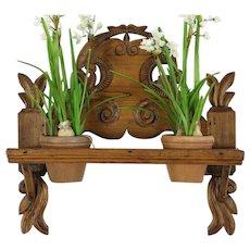 Folk Carved Antique Hand Carved Pine Dutch Wall Shelf Plant Stand