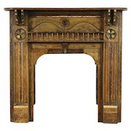 Fireplace Mantel, 1870 Antique Architectural Salvage, Grain Painted Pine
