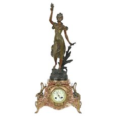 French Antique 1900 Marble Mantel Clock, Daisy Sculpture Signed Guillemin