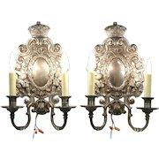 Pair 1920 Antique Cherub Sconce Lights, Smokey Mirror, Signed Sterling Bronze NY