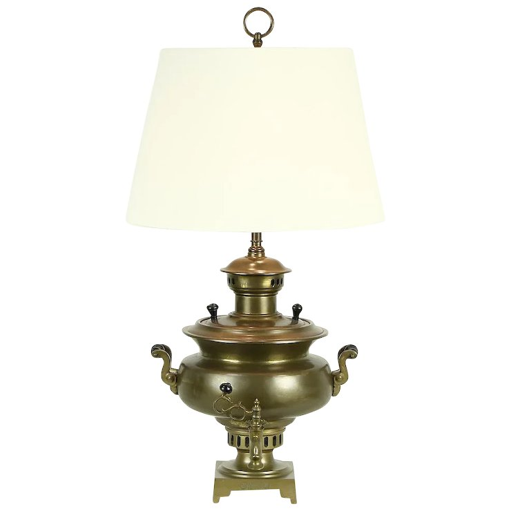 Russian Samovar Brass Antique Tea Kettle Converted To Lamp Cyrillic