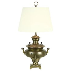 Russian Samovar Brass Antique Tea Kettle Converted to Lamp, Cyrillic Stamps