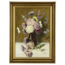 Flowers & Vase Still Life Original Oil Painting, 1920 Antique
