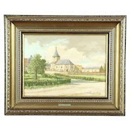 Church in Holland, Vintage Original Oil Painting, Signed Langenhove